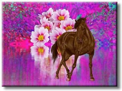 $27.98 • Buy Majestic Horse With Big White Flower Picture On Stretched Canvas, Wall Art Décor