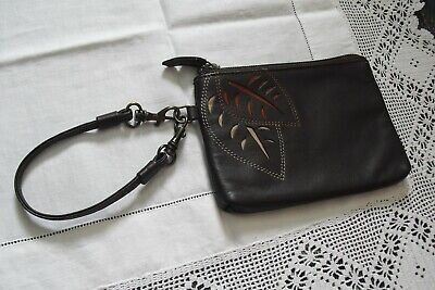New Jane Shilton Brown Leather Zip Top Purse, Detachable Wrist Strap. • 8£