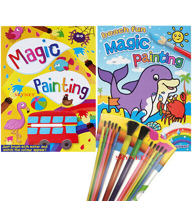 KIDS BOYS GIRLS Magic Painting Books Just Paint With Water And Colours Appear  • 3.59£