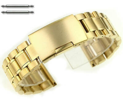 Gold Tone Steel Metal Bracelet Replacement Watch Band Strap Push Button #5017 • 12.99£