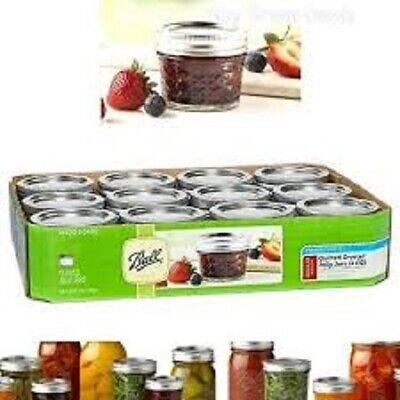 $37.97 • Buy 12-pack BALL Brand Crystal Quilted Jelly Jars 4oz REGULAR Mouth Mason Canning