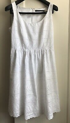 $ CDN18.98 • Buy Ivanka Trump 100% Cotton White Eyelet Sleeveless Lined Fit & Flare Dress Size 8