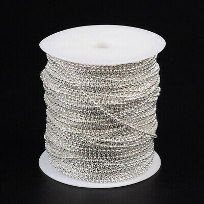£3.85 • Buy 4 Metres Silver Tone Iron Ball Bead Chain Dog Tag Soldered Jewellery Making 2mm