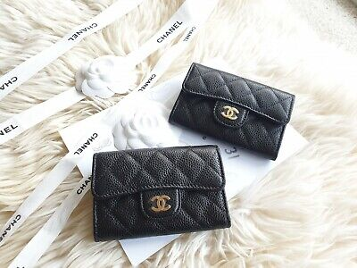 AU995 • Buy Chanel Classic Black GHW Snap Card Holder Brand New