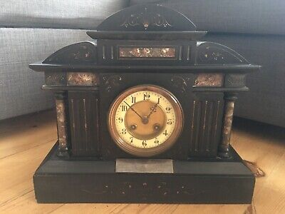 Antique Victorian S Marti French Slate Marble Mantel Clock Architectural Ornate • 175£