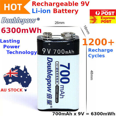 AU13.99 • Buy 9v Rechargeable Lithium Li-Ion Battery 6300mWh Smoke Alarm 1200+ Recharge Cycles