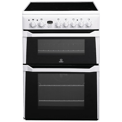 £338.96 • Buy Indesit ID60C2W 60cm Double Oven Electric Cooker With Ceramic Hob - White
