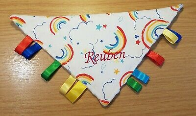 Rainbow Baby Personalised Taggie Blanket / Teething Ring L@@K Handmade, Gift Set • 9.99£