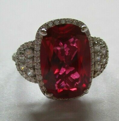 $59 • Buy Sterling Silver 925 Signed Charles Winston JVT Large Pink Stone CZ Ring Size 11