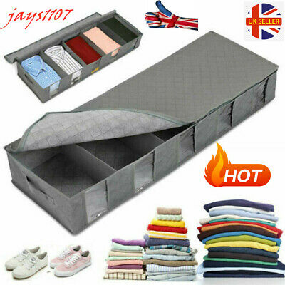 New Large Capacity Under Bed Storage Bag Box 5 Compartments Clothes Organizer • 7.89£