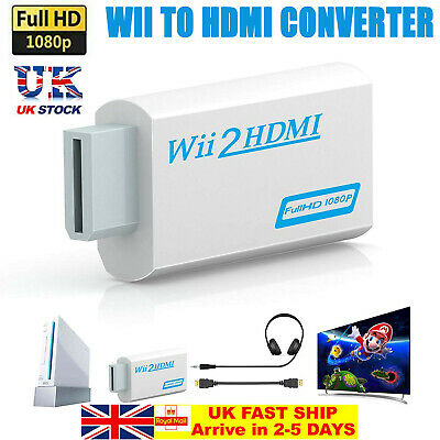 Wii Input To HDMI 1080P HD Audio Output Converter Adapter Cable 3.5mm Jack Audio • 4.89£