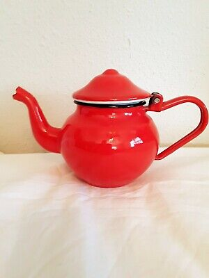 $17.99 • Buy Small Orange Enamel Ware  Vintage Teapot App 4.5 X 7.5 Inches