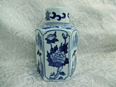 £60 • Buy Octagonal Tea Caddy Chinese Blue White Porcelain Early XX Century