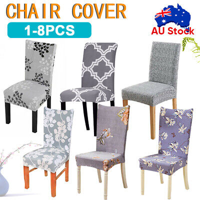 AU5.88 • Buy 1/4/6/8PCS Dining Chair Seat Covers Slip Stretch Wedding Banquet Party Removable