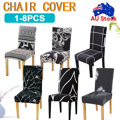 AU6.39 • Buy 1/4/6/8PCS Dining Chair Seat Covers Slip Stretch Wedding Banquet Party Removable