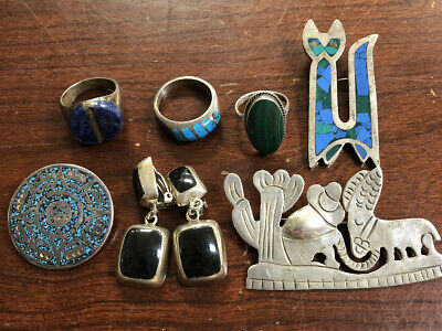 $ CDN42.18 • Buy Lot Of (7) Signed Southwest Sterling Silver Jewelry Lot .925 All Signed 109 Gram