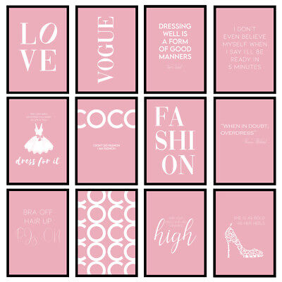 £5.95 • Buy Pink Fashion Prints Designer Bedroom Wall Art Fashion Quotes - Unframed Posters