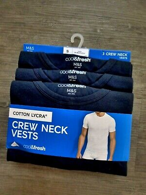 Marks & Spencer Mens 3 Pack Cotton Lycra Crew Vests Blue Size Small 36-38  Chest • 14.99£