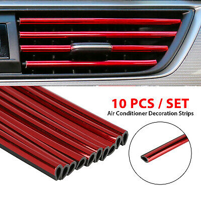 $8.27 • Buy 10Pcs Auto Car Accessories Red Air Conditioner Air Outlet Decoration Strip 20cm