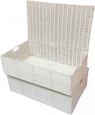 Under Bed Storage Box Resin Woven Set Of 2 Chest Under Shelf Clothes Basket Lid • 39.98£