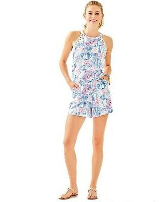 $79.99 • Buy NWT New Lilly Pulitzer Lala Romper Crew Blue Tint Sea To Shining Sea Size S