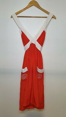 AU69.99 • Buy Alice Mccall Womens Size 10 Red White Contrast Strap Pocket Silk Boho Dress