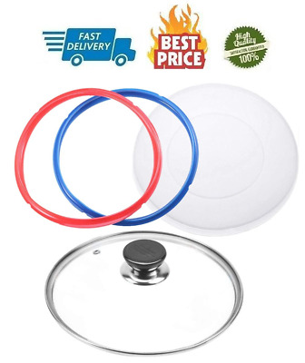 $39.61 • Buy 9 Inch Tempered Glass Lid For Instant Pot 6 Quart Silicone Lid Silicone Cover
