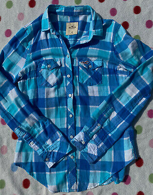 Hollister Ladies Blue And White Checked Shirt Size Extra-Small (XS) • 8.49£