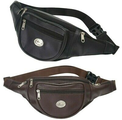 £4.93 • Buy Leather Bum Bag Money Waist Belt Fanny Pack Travel Holiday Festival Pouch