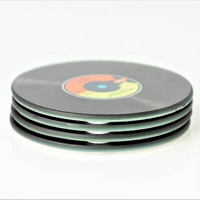 4pcs Vinyl Record Assorted Round Coasters Glass Vintage Music Lover Retro Gift • 6.95£