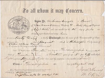 $324.99 • Buy Isaac Williams Civil War 44th Infantry Pennsylvania Militia Signed Discharge