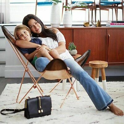 AU245.32 • Buy Vintage Leather Lounge Relax Arm Chair Handmade Genuine Leather Butterfly Chair