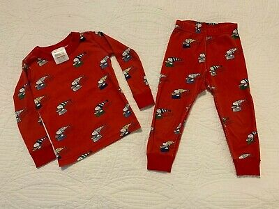 $14.99 • Buy Hanna Andersson Organic Cotton Red Peanuts Sledding Snoopy Pajamas Size 80