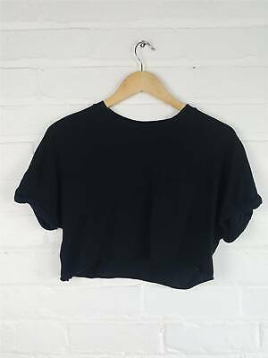 £7.50 • Buy Topshop Black Loose Fit Cropped Top Tee Casual Summer Size UK 8