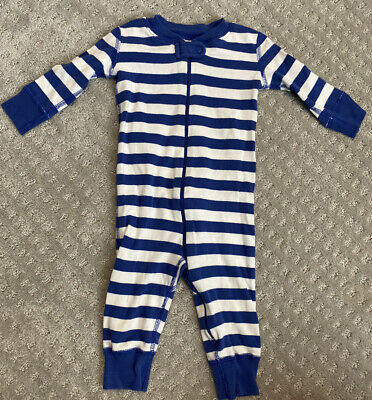 $9 • Buy Hanna Andersson 70 Pajamas Boy Blue White Stripe 9-12 Months Zipper Baby