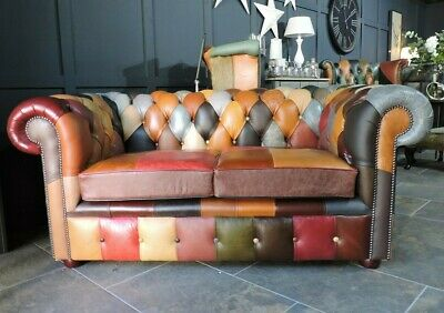 £1099 • Buy Buffalo  Club  Chesterfield 2 Seat Sofa Patchwork Harlequin Leather Queen Anne