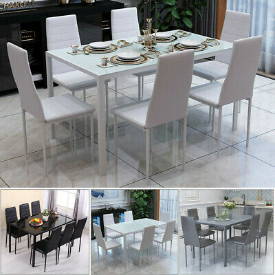 £229.99 • Buy Dining Rectangle Table & 6 PU Chairs Furniture Set Kitchen Living Dinning Room