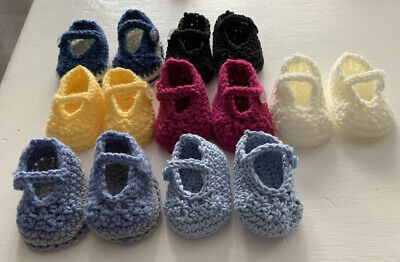 Handmade Crocheted/Knitted Baby Girls Booties / Mary Jane Shoes 0-3 Months • 2.55£