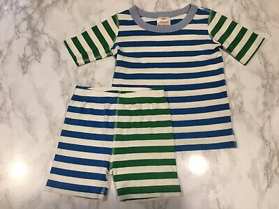 $16.99 • Buy Hanna Andersson Sz 6-7 (120) Green Blue White Striped Organic Cotton Pajamas