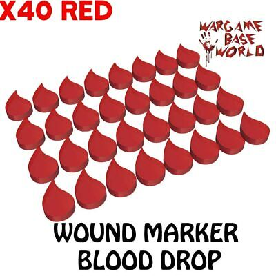 £10.99 • Buy 20pcs Or 40pcs Blood Drops Wargame Base World Wound Markers Red Slots Game Bases