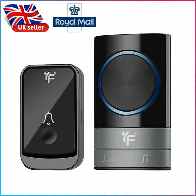 Wireless Doorbell Wall Plug-in Cordless Door 45 Chime 300m Range IP44 Waterproof • 8.68£