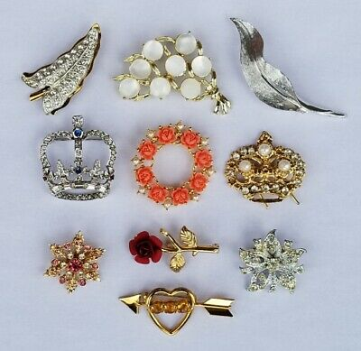 $ CDN10 • Buy Lot If Vintage Costume Jewelry Brooches And Pins E