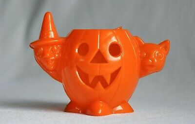 $ CDN16.24 • Buy Vintage Halloween Hard Plastic Candy Container Pumpkin Witch Cat All Orange