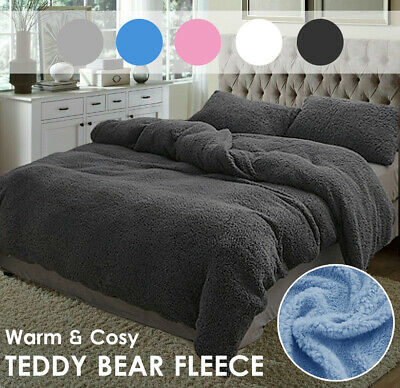 AU48 • Buy Super Warm Teddy Bear Fleece Quilt Doona Duvet Cover Set All Size Winter
