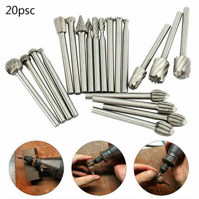 20X HSS Carbide Burr Set Rotary Drill Bits Die Grinder Carving Engraving  • 5.09£