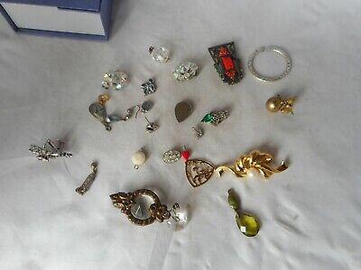 JOB LOT OF COSTUME JEWELLERY-PENDANTS, BROOCHES And EARRINGS • 3.20£