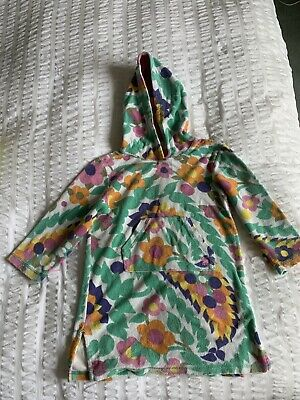 Mini Boden Floral Towelling Beach Hoodie Dress Age 4-5 • 10£