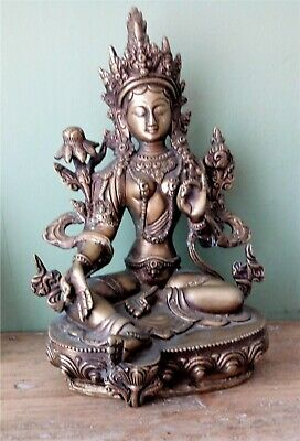 Large Antique Tibetan Chinese Bronze Buddha Figure - Marked And Sealed Base • 175£