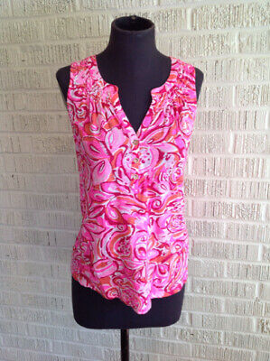 $24 • Buy Lilly Pulitzer Size S Pink & Orange Print Top