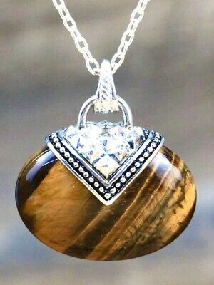 Tiger Eye 100% Real Stone Pendant Adjustable Stainless Silver Chain Necklace • 6.95£
